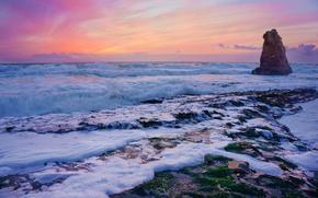 USA, Calatoia, tramonto, mare, spiaggia, roccia, paesaggio