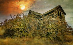 pôr do sol, campo, Casa antiga, ruínas, árvores, paisagem