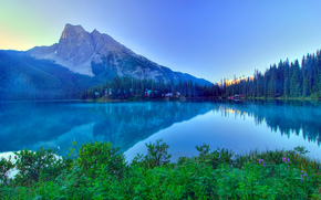 Emerald Lake, morning, Yoho, Canadian Rockies, lake, Mountains, landscape