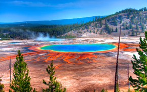 Grand Prismatic Spring, Yellowstone, Wyoming, L'America, Grand Prismatic Spring, Yellowstone, Wyoming, America