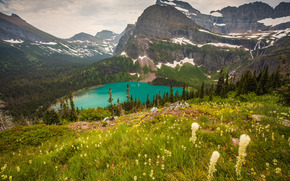 Grinnell Lake, Glacier National Park, Montana, Mountains, lake, landscape