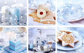 New Year, collage, cookies, Christmas decorations, Candles, laying, holiday, blue