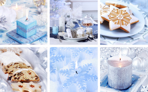 New Year, holiday, laying, crockery, Candles, cookies, cake, blue, collage