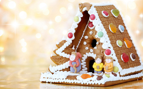 New Year, cookies, holiday, Gingerbread house, figures, bokeh