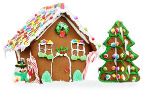 Año Nuevo, galletas, fiesta, casa de jengibre, espina de pescado, muñeco de nieve, fondo blanco