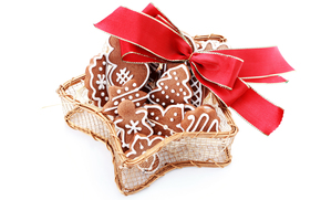 New Year, cookies, holiday, bow, red, white background