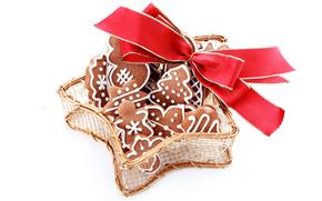 Año Nuevo, galletas, fiesta, arco, rojo, fondo blanco