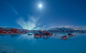 Lagoa Azul, Grindavik, Islândia, Lagoa Azul, Grindavik, Islândia, lago, Montanhas