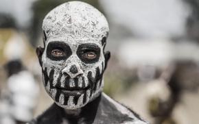 Goroka, Papua-Neuguinea, Goroka, Papua-Neuguinea, Stamm, Ureinwohner, Gesicht, Färben, ansehen