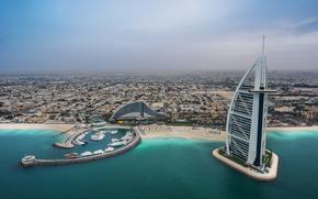 Burj Al Arab, Jumeirah Beach Hotel, Persian Golf, Dubai, UAE, Burj Al Arab, Jumeirah Beach Hotel, Persian Gulf, Dubai, UAE, sea, coast, Hotels, building, bay, beach, panorama