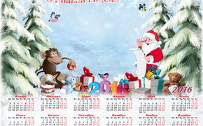 Calendario per il 2016, Buon anno, calendario con una scimmia, Babbo Natale, Calendario di Natale 2016