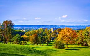 Chedoke campo da golf, Hamilton, Canada, campo, Colline, alberi, autunno, paesaggio
