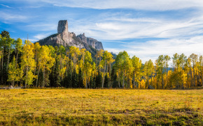 Montañas de San Juan, Colorado, campo, otoño, árboles, paisaje