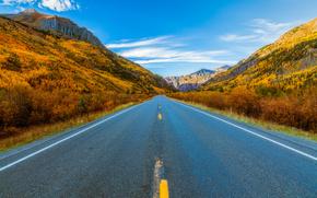Сан-Хуан Горы, Колорадо, осень, дорога, пейзаж