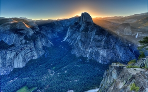 Glacier Point, Yosemite Valley, California, USA, tramonto, Montagne, paesaggio