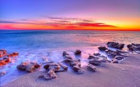 tramonto, mare, puntellare, spiaggia, paesaggio