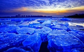 lód, zima, zachód słońca, Bloki, charakter