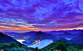 sunset, Mountains, clouds, view from the top, Taiwan