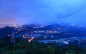 закат, горы, облака, вид с верху, тайвань