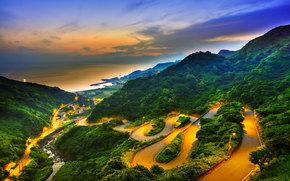 закат, горы, облака, дорога, вид с верху, тайвань