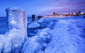 Lago Michigan, invierno, hielo, paisaje