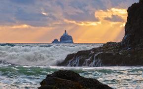 Tillamook Rock Lighthouse, Oregon, закат, море, пейзаж