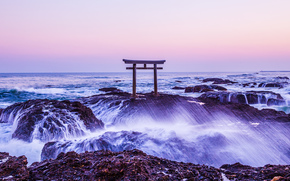 Kamiiso, япония, море, скалы, берег, волны, брызги, пейзаж