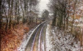 Les voies ferrées, chemin de fer, hiver, arbres, paysage