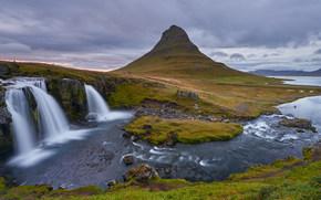Montanha Kirkjufell, Islândia, cachoeira