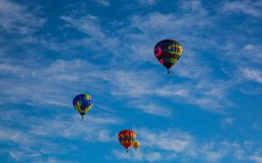 монгольфьеры, аэростаты, воздушные шары, облака, небо
