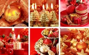 Capodanno, Candele, ornamentazione, rosso, doratura, vacanza, collage