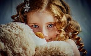 girl, Redhead, redhead, freckled. freckles, view, Teddy Bear