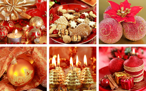 New Year, red, Candles, ornamentation, Balls, Christmas decorations, cookies, gilding, collage, holiday