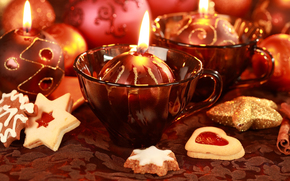 Candles, New Year, cookies, Mugs, ornamentation, red, holiday