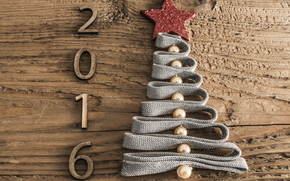 New Year, 2016, fir-tree, herringbone, fir-tree, date, figures, tree, Wooden, tape, Beads, star, holiday