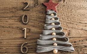 новый год, 2016, ёлка, ёлочка, елка, дата, цифры, дерево, деревянное, лента, бусины, звезда, праздник