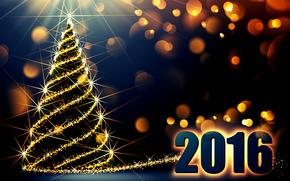 новый год, 2016, дата, лка, ёлка, сияние, боке, цифры, темный фон, праздник