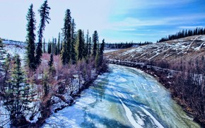 river, winter, snow, trees, Alaska, landscape