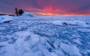Grand Marais, Minnesota, North Sea, lód, zachód słońca, krajobraz