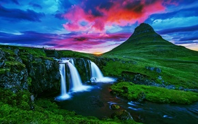Mountain Kirkjufell, Iceland, waterfall, sunset, landscape