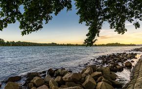 río, puesta del sol, piedras, árboles, paisaje