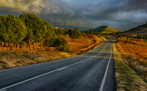 sunset, CLOUDS, road, Mountains, trees, landscape