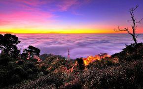 Китай, закат, облака, вид с верху, пейхаж