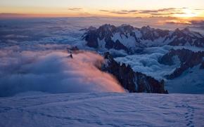 Mont Blanc du Tacul, Aiguille du Midi, French Alps, закат, горы, облака, пейзаж