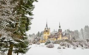 Castillo de Peles, Rumania, castillo, invierno, paisaje