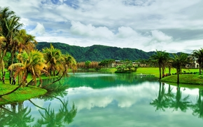 река, горы, пальмы, тайвань, пейзаж