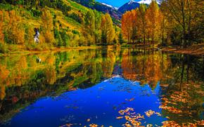 lake, autumn, trees, Mountains, cabin, landscape