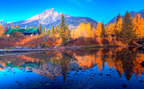 Jenny Lake, Grand Tetons, Wyoming, lake, autumn, gory.derevya, cabin, landscape