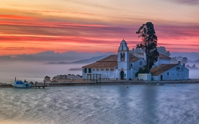 Vlacherna Monastery, Corfu, Greece, Ionian Sea, Corfu, Greece, Ionian Sea, island, monastery, sea, Mountains, DAWN, morning, fog