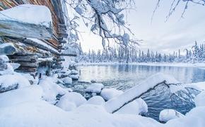 Äkäslompolo, Ylläs, Lapland, Finland, Akaslompolo, Ylläs, Lapland, Finland, winter, snow, drifts, lake